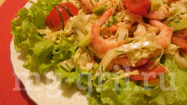 Салат с красной рыбой креветками и пекинской капустой — pic 6